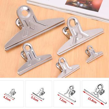 Free Shipping 50pcs/lot Stainless Steel Binder Clip Office School Tool Grip Clips Bulldog Letter Metal Paper Clip 42mm/55mm/72mm