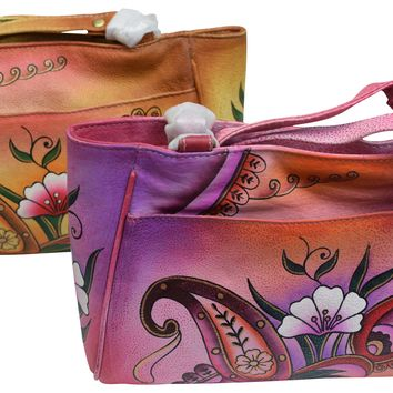 Cazoro Womens Genuine Leather Handpainted Floral Shoulder Bag Purse