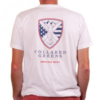 American Made Shield Tee in White by Collared Greens