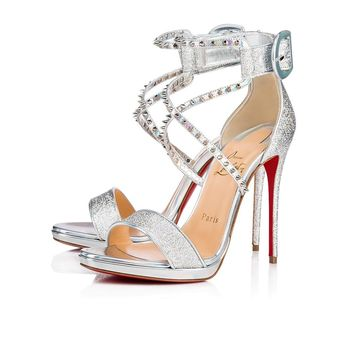 Cl Christian Louboutin Choca Lux Version Silver Lurex Ab 18w Sandals 3180119cn1h - Best Online Sale