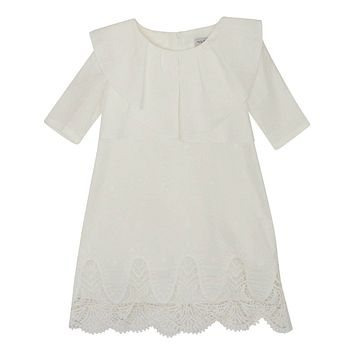Nueces Girls' Linen Embroidered Cosmo Dress