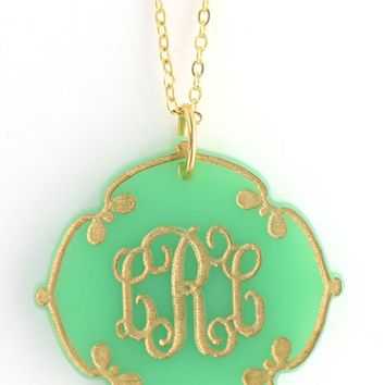 Lace Acrylic Monogrammed Necklace