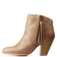 Taupe Qupid Side-Tassel Chunky Heel Booties