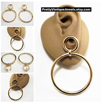 Double Ring Hoop Pierced Post Stud Earrings Gold Tone Vintage Extra Large Solid Tube Open Round Dangles