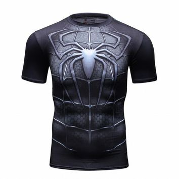 Marvel Super Heroes Avenger Superman Spiderman T shirt Men Base Layer Thermal Top Fistness tshirt homme male tops tee