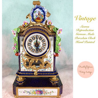 Vintage Porcelain and Enameled Mantel Cock Made in Germany Sevres Replica/ French Style / Vintage Clock