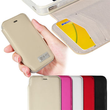 Soft TPU Gel Inner Case For iPhone 4S iPhone 4 PU Leather Credit Card Holder Flip Stand Cover High Quality 5 Colors