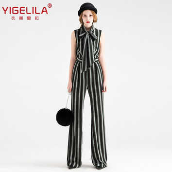 YIGELILA Brand 5278 Latest Spring New Women Fashion Sleeveless Striped Full Length Jumpsuit