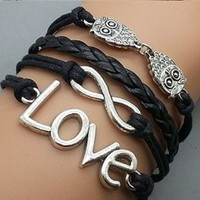 Plating Retro Silver Double Owl & Infinity Wish Love Bracelet Black Rope Braided Personalized Friendship Gift 2198r