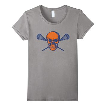 Lacrosse Skull Shirt I Orange and Blue Lax Tee