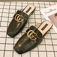 Gucci Summer Women Casual Retro Double G Sandal Slipper Shoes Black