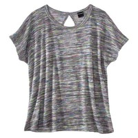 Juniors Space Dye Keyhole Back Top - Gray