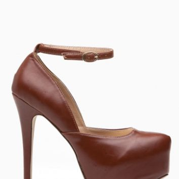 Brown Faux Leather Ankle Strap Platform Heels @ Cicihot Heel Shoes online store sales:Stiletto Heel Shoes,High Heel Pumps,Womens High Heel Shoes,Prom Shoes,Summer Shoes,Spring Shoes,Spool Heel,Womens Dress Shoes