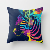 Zebra Splatters Throw Pillow by Olechka