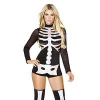 Holographic Laser-Cut Skeleton Romper Costume