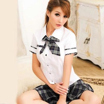 New 2018 Hot Japanese School Uniform Girls Korean Uniform School Wear Summer White Shirt + Plaid Lace Skirt Clothing