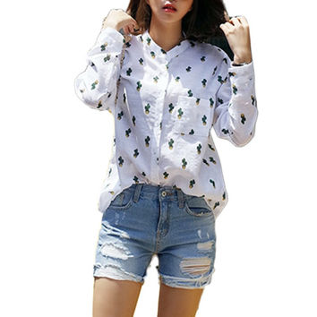 Girls Women Casual Long Sleeve T-Shirts Sweet Cute Cactus Printed Mandarin Collar Tops White