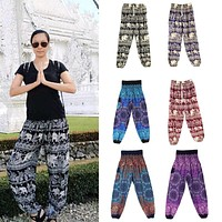 2018 Autumn New Thai Harem Pants High Waist Boho Festival Hippy Elephant  Trousers Rayon