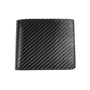 New Men Carbon Fiber Trifold Slim Leather Wallet