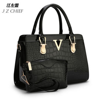 2015 new fashion  patent PU leather handbags Socialite crocodile grain  women messenger bags
