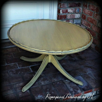 shabby chic coffee table, vintage coffee table, distressed coffee table, yellow coffee table, shabby chic table, rustic coffee table, table