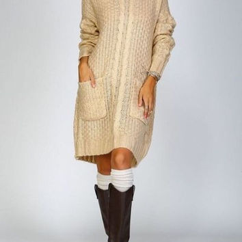 Listicle Chunky cable knit crochet sweater dress with pockets taupe