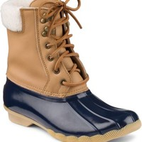 Sperry Top-Sider Shearwater Duck Boot Cognac/Navy, Size 5M  Women's Shoes