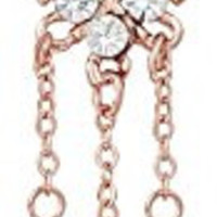 14g Rose Gold Plated Crystalline Square Dangle Belly Button Ring