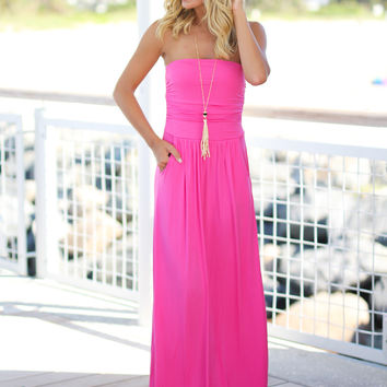 Strapless Fuchsia Maxi Dress with Pockets