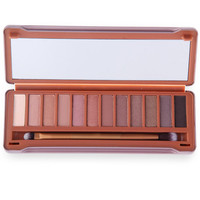 12 Colors Naked Matte Pigment Glitter Eyeshadow Palette with Brush Mirror Makeup Set