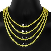 4mm solitaire 3 Prong Canary Yellow Tennis Necklace