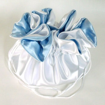Dollar Dance Bag, Wedding Purse   Ivory and Light Blue,  No Pockets