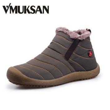 VMUKSAN Men Winter Snow Shoes Lightweight Ankle Boots Warm Waterproof Botas Mens Rain