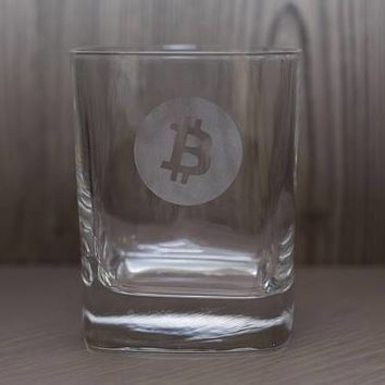 Bitcoin Etched Drinking Glasses - Whiskey Glass- Pint - Pub Glass - Beer Mug - Cryptocurrency - BTC
