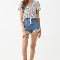 Crepe Striped Tie-Front Top