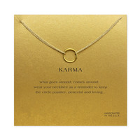 Karma Circle Pendant Necklace in 14k Gold Overlay