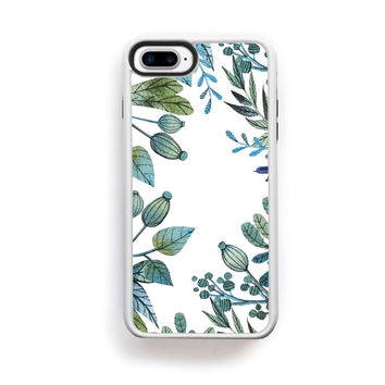Illustrated botanical green and blue boarder on white for iPhone 7 Plus