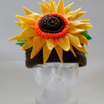 Sunflower fleece baby hat, baby hats, newborn fleece sunflower hat, baby clothing, baby outerwear