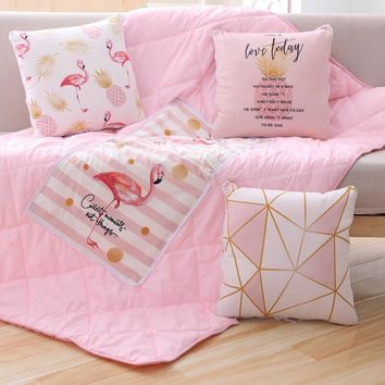 Flamingo  Summer Quilt Blankets Maple Leaf Combo Pillow Quilting Home Textiles Suitable for Children Adults Bedding