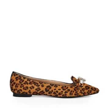 London Rebel Petra Leopard Jewel Front Shoes - Leopard