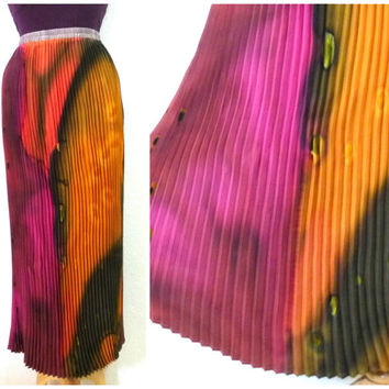 Vintage Hand Painted Silk Skirt Burgundy, Brown, Green Hand Dyed Pleated Maxi Skirt M