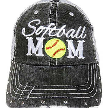 Embroidered Softball Mom Black/Grey Baseball Trucker Cap Hat Sports
