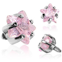 4mm Pink Prong Set Star Gem Dermal Top | Body Candy Body Jewelry