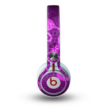 The Bright Pink & Purple Floral Paisley Skin for the Beats by Dre Mixr Headphones