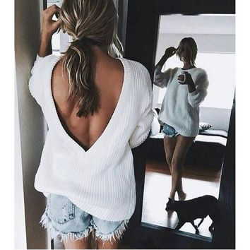 Day-First™ ♡ Open V-back Sweater Loose Pullover Women Basic Casual Knitwear ♡