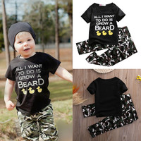 2pcs Children Baby Infant Clothes Army Green 2pcs Boys Girls Outfits T-shirt Tops + Pants Black Cute Cartoon Letter Kids Clothes