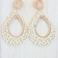 Ivory Classical Pattern Dangle Earrings - Earring