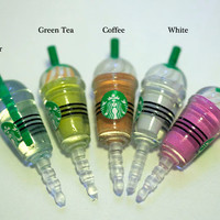 Kawaii STARBUCKS FRAPPE in 4 Colors to pick Iphone Earphone Plug/Dust Plug - Cellphone Headphone Handmade Decorations