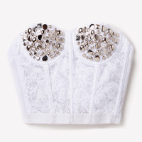 Silver Studded Lace Bustier - White