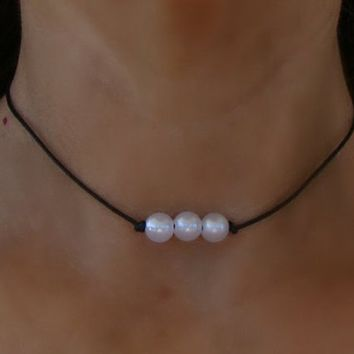3 Pearl Boho Knotted White Pearl Bead Leather Choker Necklace - Bohemian Round Beaded Hippie Chic Black Cord Tattoo Spaced